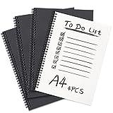 Spiral-Notizbuch, A4, liniert, 4er-Pack, Black weicher Einband, Kraftpapier, Notizblöcke, Planer, ideal für Reisen und Schule