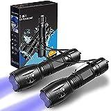 LETION UV-Taschenlampe 2 in 1 [2er-Pack], UV-Licht LED Schwarzlicht Taschenlampen mit 500LM Highlight & 4 Modi für Haustierbekleidung