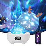 Projektor Lampe Sternenhimmel mit Bluetooth Lautsprecher,Petrichor Nachtlicht Wecker Kinder 10 Modus Dimmbarer Farbwechsel Tisch Nachttischlampen Schlafhilfe Licht für Baby Erwachsene Geschenk