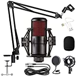 WLGQ Kondensatormikrofon Kit V-500 Mikrofon Gaming-Mikrofon einstellen, Podcast-PC-Mikrofon auf 3,5 mm mit Einstellbarer Mikrofonaufhängung, Scherenarm, für S