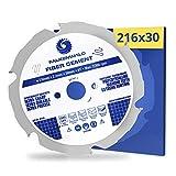 FALKENWALD® Sägeblatt Faserzement 216x30 mm mit 6 Diamantzähnen (PCD) - speziell für Fiber Cement, Faserzementplatten & Eternit - kompatibel mit Metabo, Bosch & vielen weiteren Marken