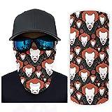 chvcodd Magischer Schal Clown Halloween Kopfbedeckung Bandana Neck Gaiter Head Wrap Sturmhaube zum Laufen und ein bestes Geschenk zum Geburtstag, weiß, Einheitsgröße