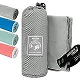 Backpacker's Journey Mikrofaser Handtücher in S M L XL. Reisehandtuch Sets leicht, schnelltrocknend, saugfähig und antibakteriell (grau L)
