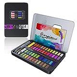 Honmax Aquarellfarbkasten, 48 Wasserfarben Set, Aquarellfarben mit Wassertankpinsel, Pinsel, Zeichenstift, Aquarellpapier, Wasser absorbierender Schwamm, Weiße Aquarellfarbe, Malkasten für Malen