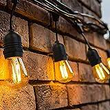 16 Meter LED Lichterkette Außen,OxyLED Garten Lichterkette Glühbirne LED Retro,IP65 Wasserdicht,16X1W LED Birnen Warmweiß 2500K Beleuchtung für Innen und Außen Deko Garten H