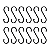 GARLIC PRESS S Haken,12 Stück Fleischerhaken Schwarz S-förmige Haken Metall Hängende Haken Gardrobenhaken Kleiderbügelhaken für Küche, Bad, Schlafzimmer und Bü