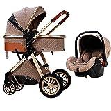 QTWW Arch Multifunktions-Kinderwagen, kompakter 3 in 1 Kinderwagen, einhändig klappbar, Kinderwagen Kinderwagen mit Einkaufskorb und Mommy Bag Wheel/Khaki