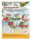 folia 9394 - Adventskalender Weihnachtszug, 60 teiliges Bastelset mit vorgestanzter Eisenbahn und 24 Geschenkpäckchen zum Zusammenstecken, ideal für kleine Geschenke im Advent