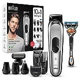 Braun 10-in-1-Trimmer MGK7220 Herren-Barttrimmer, Bodygrooming-Set und Haarschneider, grau/silb