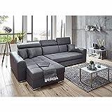 Ingvar Ecksofa in anthrazit Ottomane Links, mit großer Sitzfläche und Relaxfunktion, hochwertige Polsterung, gemütliches Sofa in modernem Design