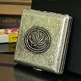 SlimpleStudio Zigarettenetui Bewegliche Taschen Tabak Metall Kupfer Maple Leaf Zigarettenetui for 20 Zigaretten-Aufbewahrungsbehälter-Halter Cig-Fall