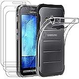 ivoler Hülle für Samsung Galaxy Xcover 3 + [3 Stück] Panzerglas, Durchsichtig Handyhülle Transparent Silikon TPU Schutzhülle Case Cover mit Premium 9H Hartglas Schutzfolie Glas