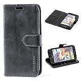 Mulbess Handyhülle für Samsung Galaxy S5 Hülle, Leder Flip Case Schutzhülle für Samsung Galaxy S5 Neo Tasche, Schwarz