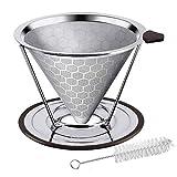 Gobesty Kaffeefilter, Papierloser Kaffeefilter mit Cup Cleaner Pinsel und Rutschfestem Tassenständer für 4 Tassen