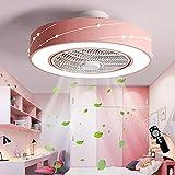 Ventilator Deckenlampe Mit Fernbedienung Deckenventilator Mit Licht LED Einstellbare Windgeschwindigkeit Fan Deckenleuchte Modern Dimmbar Pendelleuchte Für Kinderzimmer Schlafzimmer Wohnzimmer (Pink)