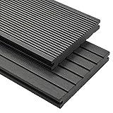 vidaXL WPC Terrassendielen Massiv 10m² 2,2m 20mm Grau Komplettset Holz Diele