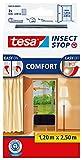 tesa Insect Stop COMFORT Fliegengitter für Türen - Insektenschutz Tür mit Klettband - Fliegen Netz ohne Bohren, anthrazit ( 2 x 65 cm )120 cm x 250 cm