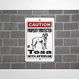 godblessign Property Protected By Tosa Guard Hunde-Warnschild aus Aluminium, 20,3 x 30,5 cm, reflektierendes Metall-Blechschild für drinnen und drauß