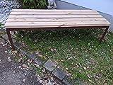 Gartenbank aus Rost Metall und Holz Parkbank Wetterfest, Sitzbank Eisenbank für 2-3 Sitzer, Bank für Garten Park Balkon L114cm B53cm H45cm