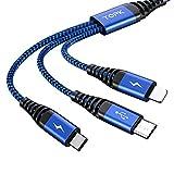 E-Shopper 3in1 Handy Schnellladekabel [1,2m] Standard USB auf i-Produkte, Micro USB & USB-C - hochwertiges Ladekabel & Datenkabel - robustes Smartphone-Ladekabel - universell (Blau)