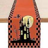 RMBLYfeiye Tischdecke Halloween Deko,33 x 178 cm wasserdichte Tischläufer,Halloween Gruselige Tischdecke,GNOME Elfen Tischläufer,Tischdecke Gruseliger Spukhaus,Halloween Deko