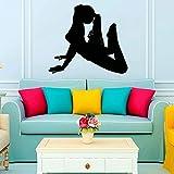 Innovative Frauen Yoga Fitness Übung Wandaufkleber Wohnzimmer Selbstklebende wasserdichte Kunst Wandtattoo Dekoration A4 33x30cm