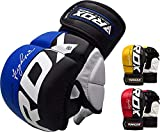 RDX MMA Handschuhe Profi UFC Kampfsport Sparring Freefight Sandsack Trainingshandschuhe Grappling Gloves (M, Blau)