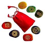 7 Chakra Steine | mit den 7 Chakren eingraviert | Handgravur Energiestein Therapie mit Anleitung