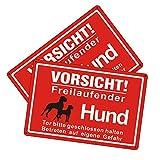 Goodvia Freilaufender Hund Schild Metall 20 * 30cm, 2 × Achtung Hunde Schild Vorsicht Freilaufender Hund Aluminium Reflektierendes Schilder Warnung vor Dem Hund, Innen und Außen Anwendbar