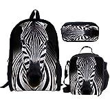 NETILGEN 43,2 cm stilvolle Schulranzen aus Polyester, 3 Stück Gr. One size, zebra