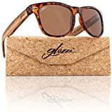 glozzi Sonnenbrille Herren und Damen Holz Polarisiert und Entspiegelt UV400 Braun mit Holzbügeln aus Zebrano und Brillenetui aus Kork