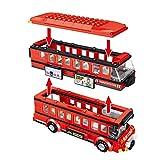 Qualimart 398 Stück City Creator Doppeldeck-Bus-Bausteine, technischer roter Transport-Bus, Schulauto-Beine, Spielzeug für Kinder (Farbe: ohne Box)