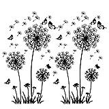 2 Stück Schwarz Wandtattoo Pusteblumen für Wanddeko,XXL Groß Löwenzahn Blumen Pflanzen Wandsticker Wandaufkleber Kleben Aufkleber Wandbilder für Wohnzimmer Schlafzimmer Vorraum Flur Fenster 165X130