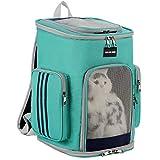 DuoLmi Pet Carrier Rucksack - Faltbarer Transportrucksack Tasche für Kleine Katzen, Tiere, Haushalt Haustiere mit gepolsterten Schultergurten, Welpentragetasche für Reisen Camping Wandern (Grün)