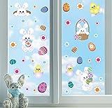Fenstersticker Ostern,Fensterdekoration Ostern,Hasen Fenstersticker,Ostereier Küken Wandaufkleber für Kinderzimmer,Abnehmbare PVC Ostern Stickers für Osterfeier Schaufenster Glas Tür Kühlschrank Deko