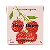 True Gum Himbeere & Vanille | Plastikfreier Kaugummi | Biologisch Abbaubar | Vegan | 21 g