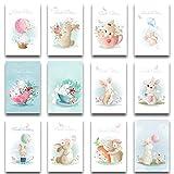 Osterkarten 12-er Set aufklappbar mit 12 passend bedruckten Umschläge - Umschlag in zarten Pastelltönen mit Hasen und Ostereier Klappkarten - Frohe Ostern Grußkarten im A6 für Privat und Geschäft