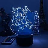Anime 3D Nachtlicht LED Lampe Smart Touch & Fernbedienung 7 Farbwechsel Optisch + 4 Blitzgeschwindigkeiten Nachtlicht für Kinder Jungen und Mädchen