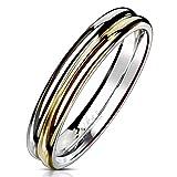 Autiga Ring Edelstahl Damen Herren Zweifarbig Bandring Bicolor Partnerring Ehering Silber-Gold-Rosegold 52 - Ø 16,51