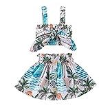 MoccyBabeLee Kleinkind Baby Mädchen Boho Kleidung Rüschen Spaghetti Strap Rüschen Spitze Crop Top Floral Rock Sommerkleid Outfit, blau, 86