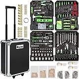 tectake 401321 Werkzeugkoffer 1200-teilig mit Werkzeug befüllt, 4 Ebenen, Trolley mit Rollen und Teleskopgriff zum Ziehen