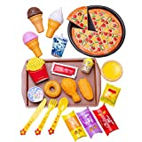 YIJUE Pretend Play Food Set, 27 Stück Hot Fast Food Diner Spielzeugset zum Mitnehmen, Simulation Pizza Fries Fast Food Set Kinder Pretend Play Lernspielzeug für Kinder