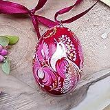 Hochwertiges Osterei mit dem Vogel aus Holz zum Aufhängen | Ukrainische handbemalte Ostereier | Kunsthandwerk | Pysanky | Petrykiwka-Malerei