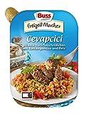 Buss Cevapcici - pikante Hackfleischröllchen mit Balkangemüse und Reis, 12er Pack (12 x 300 g)