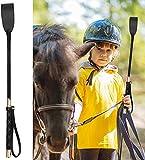TYCX Peitsche Reiten von Peitschen für Pferdehund-Kunstlederreiten mit Rutschfester Griffgel Griff Horse Crop Black-51 cm