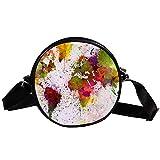 Bennigiry Handtasche für Damen, rund, mit Wasserfarbe, Regenbogen-Weltkarten-Druck, Schultertasche, Tragegriff