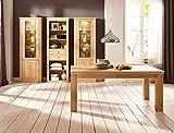 expendio Esszimmer Verena 44 Eiche Bianco teilmassiv 4-teilig Esstisch Vitrine Highboard Sideboard Regal, Beleuchtung:mit Beleuchtung