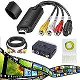 Video Grabber und VHS zu PC Audio, MISSJJ VHS Video Digitizer Adapter, DVD TV Videorecorder, VHS VCR DVR zu Dig