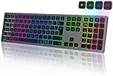 Seenda Beleuchtete Kabellose Tastatur, 4 Bluetooth-Kanäle, Wiederaufladbare 7-Farben-Tastatur mit Hintergrundbeleuchtung, QWERTZ-Layout, für Windows/iOS/Mac OS/Android (Grau)