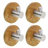 KEESIN Klebstoff Haken Bambus und Edelstahl Ultra Starke 3 mt Kleiderbügel Handtuchhaken für Küche Badezimmer Toilettenschränke (Einzelner Haken-4Pcs)